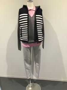 ジェシカさん 今年はこれからキテいると噂のピンクを下に着て薄手のニットを合わせて、まだ少し寒いので、ベストを着ています。(全てラコステ❤️) 下は薄手スウェットのパンツです(ルコック)